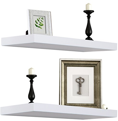 Sorbus Floating Shelf — Hanging Wall Shelves Decoration — Perfect Trophy Display, Photo Frames (White)