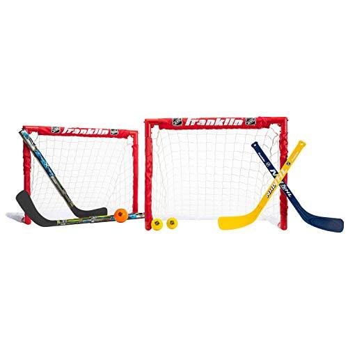 Franklin Sports Kids Folding Hockey 2 Goal Set - NHL - Street Hockey & Knee Hockey - Includes 2 Adjustable Hockey Sticks, 2 Knee Hockey Sticks, 2 Hockey Balls - 24 x 19 x 19 Inch Goal