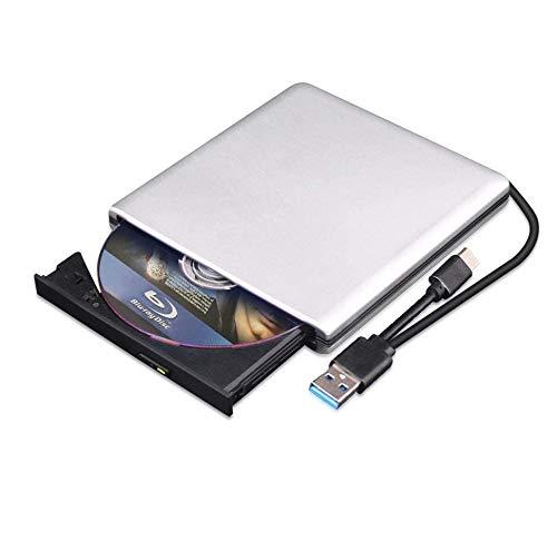 External Blu Ray DVD Drive 3D, USB 3.0 and Type-C Bluray CD DVD Reader Slim Optical Portable Blu-ray Drive for MacBook OS Windows xp/7/8/10, Laptop PC (Silver-Grey)