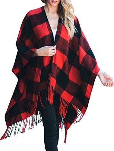 Daisy Del Sol Knit Buffalo Plaid Checkered Wrap Oversized Blanket Sweater Poncho (Red)