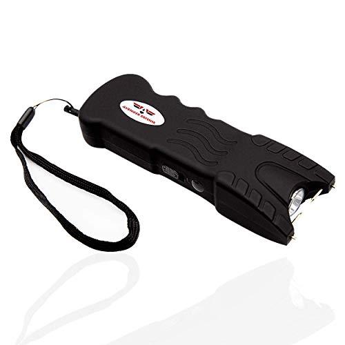 Avenger Defense ADS-80B – Stun Gun for Women – Taser Gun with Safety Disable Pin –1.2µC Charge for Powerful Self Defense –Bright LED 120 Lumen Rechargeable Flashlight & Holster -Non-Slip Coating,Black