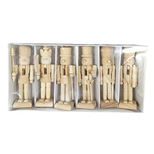 Sizet Unfinished Wood Nutcracker Ornaments Unpainted Mini Wooden Figurines, Set of 6