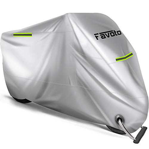 Favoto Motorcycle Cover Waterproof Outdoor, Cool Silver Color Designed for Summer, with Reflective Strip Windproof Buckle Lock-Hole Storage Bag Fit 104 inch Vehicle