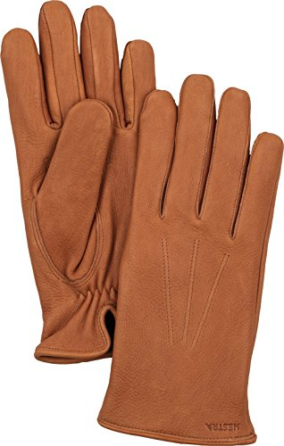 Hestra Mens Leather Gloves: Norman Cold Weather Wool Lined Winter Gloves, Cork, 8