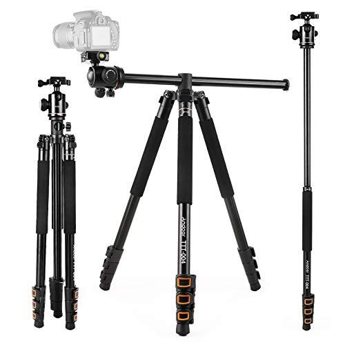 Andoer Camera Tripod 78.7 inch with Center Column, 2-in-1 Camera Tripod Monopod with 360° Ball Head, 3.9lb Lightweight Aluminum Alloy Tripod, Max Load of 22Ib