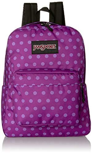 JanSport Black Label Superbreak Backpack - Lightweight School Bag | Purple Plum Polka Dot