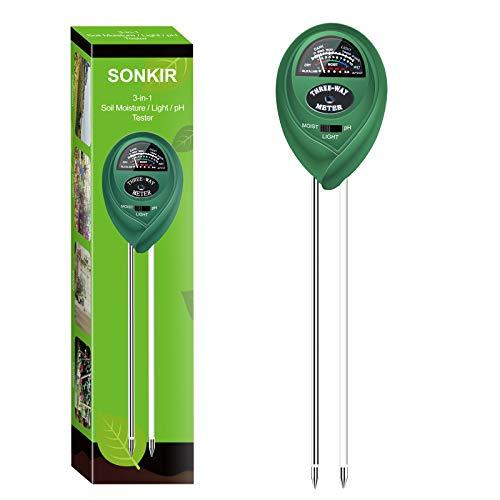Sonkir Soil pH Meter, MS01 3-in-1 Soil Moisture/Light/pH Tester Gardening Tool Kits for Plant Care, Great for Garden, Lawn, Farm, Indoor & Outdoor Use