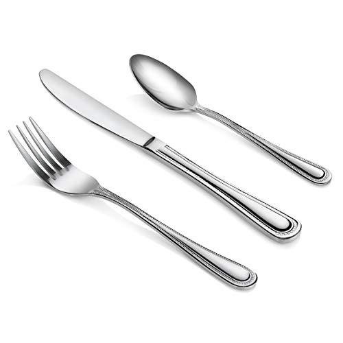 New Star Foodservice 58888 Bead Pattern, 18/0 Stainless Steel, 36-Piece Flatware Set