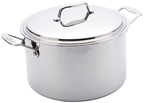 USA Pan Cookware 5-Ply Stainless Steel 8 Quart Stock Pot with Cover, Oven and Dishwasher Safe, Made in the USA, Silver