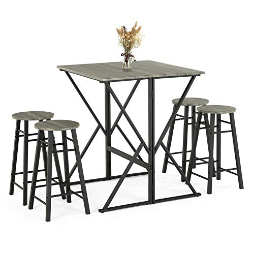 Mecor 5-Piece Drop-Leaf Bar Dining Table Set, Folding Pub High Table with 4 Round Bar Stools for Kitchen Dining Room Coffee Breakfast