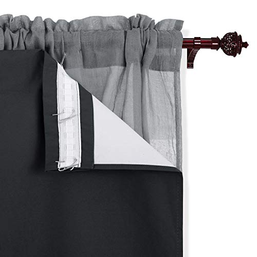 Deconovo Thermal Insulated Liners Blackout -Rod Pocket Microfiber Curtains for-Kitchen, 27x60 Inch, Dark grey