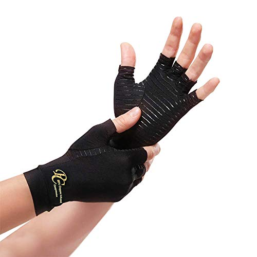 Premium Care Copper Compression Arthritis Gloves - 88% Infused Copper Content Gloves for Pain Relief of Swelling, Arthritis, Carpal Tunnel - Daily Healing Support for Men and Women's Hands