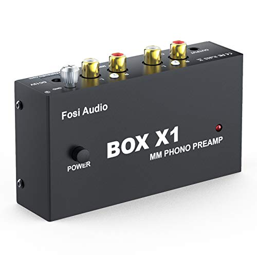 Fosi Audio Box X1 Phono Preamp for MM Turntable Mini Stereo Audio Hi-Fi Phonograph/Record Player Preamplifier with 3.5MM Headphone and RCA Output with DC 12V Power Supply