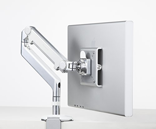 Humanscale M2 M2CW1S Adjustable Articulating Computer Monitor Arm - Two Piece Clamp On Mount with Base - Polished Aluminum with White Trim