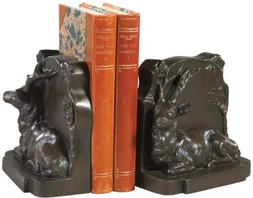 EuroLuxHome Bookends Bookend Laying Stag Deer Cast Resin New Relief Carved Hand-Cast