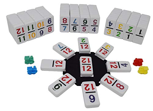 Regal Games Double 12 Colored Dot Dominoes Mexican Train Game Set with Plastic Hub, 91 Numbered Domino Tiles, 4 Metal Trains, and Collectors Tin