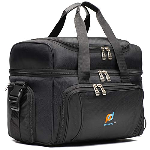 Large Cooler Bag. Two Insulated Compartment, Heavy Duty Fabric, Thick Insulation, 2 Heat Sealed Soft Peva Liner, Many Pockets, Strong Double Zipper, Padded Straps -Black