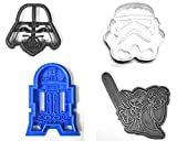 STAR WARS MOVIE CHARACTERS DARTH VADER YODA R2D2 STORM TROOPER SET OF 4 SPECIAL OCCASION COOKIE CUTTERS BAKING TOOL 3D PRINTED MADE IN USA PR1022