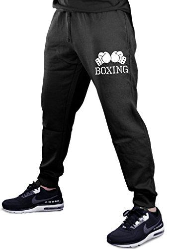 Interstate Apparel Men's Boxing Gloves V434 Black Fleece Gym Jogger Sweatpants Small Black