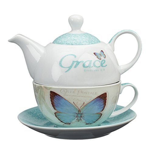 "Christian Art Gifts Ceramic Teapot Set | Botanic Butterfly Blessings ""Grace"" – Ephesians 2:8 