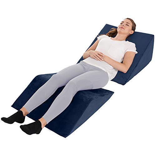 Bed Wedge Pillow – 2 Separate Memory Foam Incline Cushions, System for Legs, Knees and Back Support Pillow | Acid Reflux, Anti Snoring, Heartburn, Reading – Machine Washable, Navy