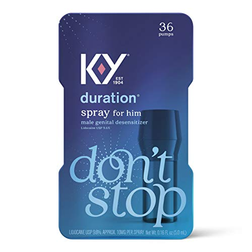 Duration Spray for Men, K-Y Male Genital Desensitizer Numbing Spray to Last Longer, 0.16 fl oz, 36 Sprays, Made with Lidocaine to Help Men Last Longer in Bed