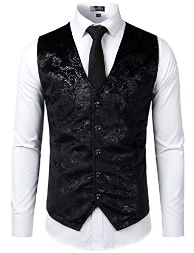 ZEROYAA Mens Hipster Black Paisley Single Breasted Suit Dress Vest/Tuxedo Waistcoat Z49 Black Medium