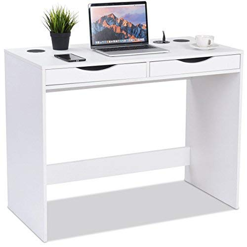 Tangkula Computer Desk, Modern Home Office Computer Desk with Bluetooth Speakers, Drawer, USB Charging Ports, for Tablets Workstation Laptop Table Furniture (White)