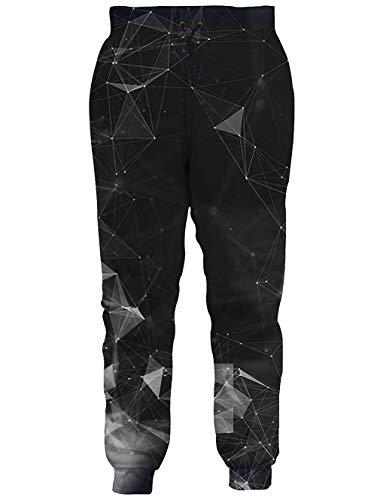 RAISEVERN Unisex Jogger Pants Galaxy Sweatpants Sportswear Diamond Geometry Gym Trousers with Pocket for Men &Women