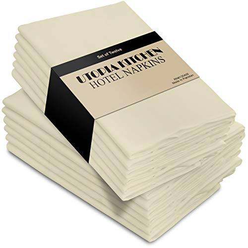 Utopia Kitchen Cloth Napkins 18 by 18 Inches, 12 Pack Ivory Dinner Napkins, Poly Cotton Soft Durable Napkins