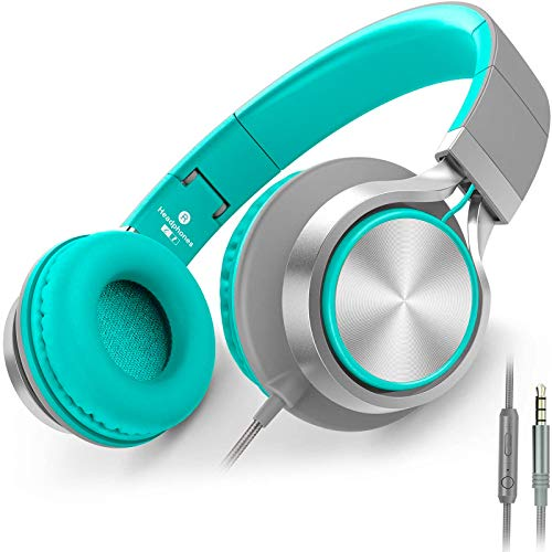 AILIHEN C8 Headphones with Microphone and Volume Control Folding Lightweight Headset for Cellphones Tablets Smartphones Laptop Computer PC Mp3/4 (Grey/Turquoise)