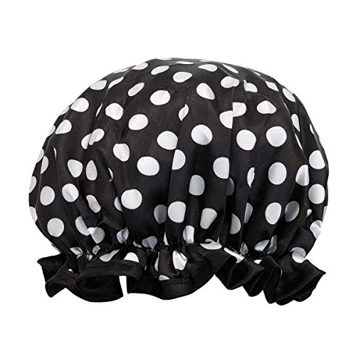 allydrew Reusable Women's Waterproof Shower Caps for Long Hair, Black and White Dots