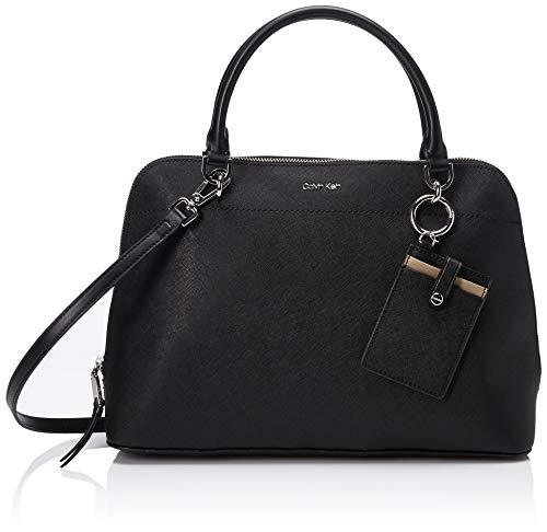 Calvin Klein womens Calvin Klein Susan Saffiano Leather Dome Satchel with Card-Case-Hanger, black/silver, One Size