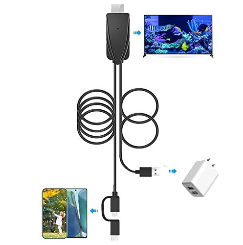 2-in-1 USB Type C/Micro USB MHL to HDMI Cable Adapter 1080P HD HDTV Mirroring &Charging Cable 6ft Converter for Android Smartphones Digital AV Video Mirroring Phone to TV/Projector/Monitor