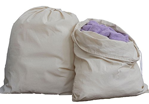 "HomeLabels Cotton Laundry Bag - 2 Pack, Natural, 30""x 40"" - Commercial Grade 100% Cotton, Designed for Heavy Duty Use, College Laundry Bags, Laundromat and Household Storage - Grey"