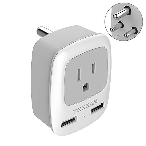 US to India Power Adapter, TESSAN International Grounded Travel Plug Adapter with 2 USB &1 American Sockets Outlet Charger, Type D Adaptor for Bangladesh Maldives Nepal Pakistan