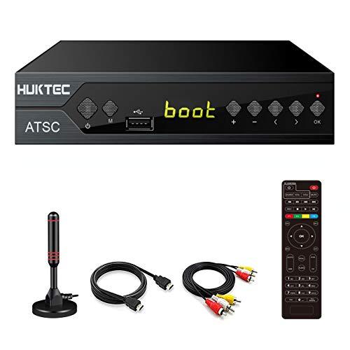 Digital Converter Box for TV, Huktec Digital TV Converter Box HDTV Digital Converter for Analog TV, HD 1080P TV with Recorder ATSC HDTV Digital Converter with Tuner, Pause Live
