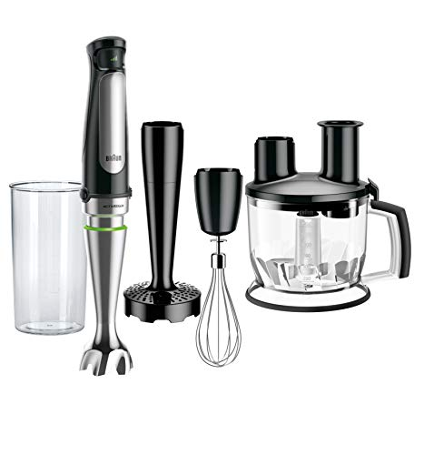 Braun 4-in-1 Immersion Hand Blender, Powerful 500W Stainless Steel Stick Blender, Variable Speed + 6-Cup Food Processor, Whisk, Beaker, Masher, High Quality Faster, Finer Blending, MultiQuick MQ7077