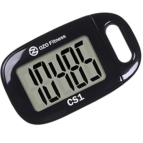 OZO Fitness CS1 Easy Pedometer for Walking | Step Counter with Large Display and Lanyard (Black)