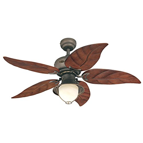Westinghouse Lighting 7861920 Oasis Single-Light 48-Inch Five-Blade Indoor/Outdoor Ceiling Fan, Oil Rubbed Bronze with Yellow Alabaster Glass