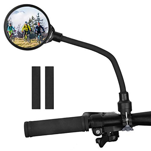 Bike Mirror Handlebar Mount, Adjustable Rotatable Bicycle Rear View Glass Mirror, Wide Angle Acrylic Convex Safety Mirror for Mountain Road Bike