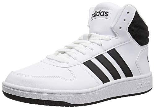 adidas Men's Hoops 2.0 Mid Basketball Shoe, White/Black/Black, 11 M US
