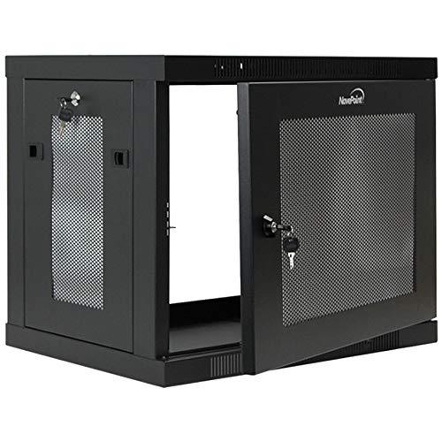 NavePoint 9U Wall Mount Rack Enclosure Server Cabinet 16.5 Inch Deep, Switch-Depth Perforated Door Lock