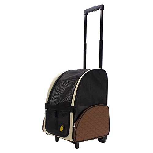 FrontPet Airline Approved Rolling Pet Travel Carrier with Wheels and Backpack Straps, Strong Breathable Mesh Panels, 12' W x 14.5' L x 19.5' H, Air Travel Pet Carrier, Airport Pet Carrier