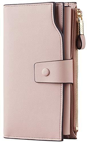 Travelambo Womens RFID Blocking Large Capacity Luxury Waxed Genuine Leather Clutch Wallet Multi Card Organizer (ReNapa Pink Champagne)