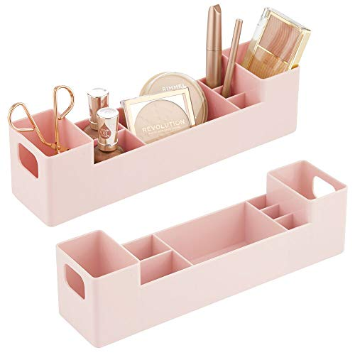 mDesign Storage Organizer Bin with Handles - Divided Organizer for Vitamins, Supplements, Serums, Essential Oils, Medicine Pill Bottles, Adhesive Bandages, First Aid Supplies, 2 Pack - Light Pink