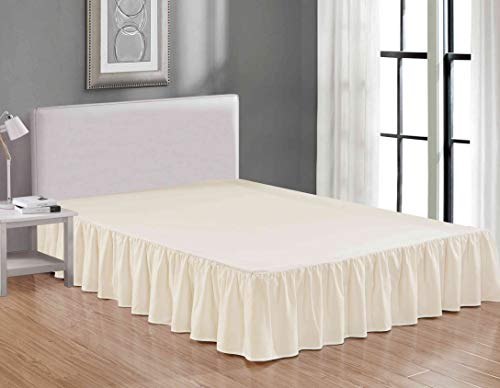 Sheets & Beyond Wrap Around Solid Luxury Hotel Quality Fabric Bedroom Dust Ruffle Wrinkle and Fade Resistant Gathered Bed Skirt 14 Inch Drop (Twin, Beige)