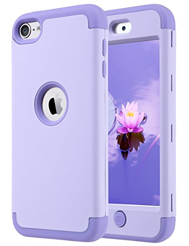 ULAK iPod Touch 7 Case, iPod Touch Case 6th Generation, iPod 5 Case, Heavy Duty High Impact Knox Armor Case Cover Protective Case for Apple iPod Touch 5th/6th/7th Generation (2019), Purple