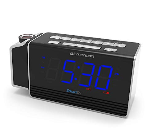 Emerson SmartSet Projection Alarm Clock Radio with USB Charging for Iphone/Ipad/Ipod/Android and Tablets, Digital FM Radio, 1.4' Blue LED Display, 4 level Dimmer, ER100103
