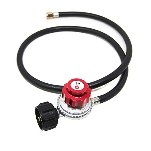 Gas One 4 ft High Pressure Propane 0-20 PSI Adjustable Regulator with QCC-1 type Hose - Works With Newer U.S. Propane Tanks